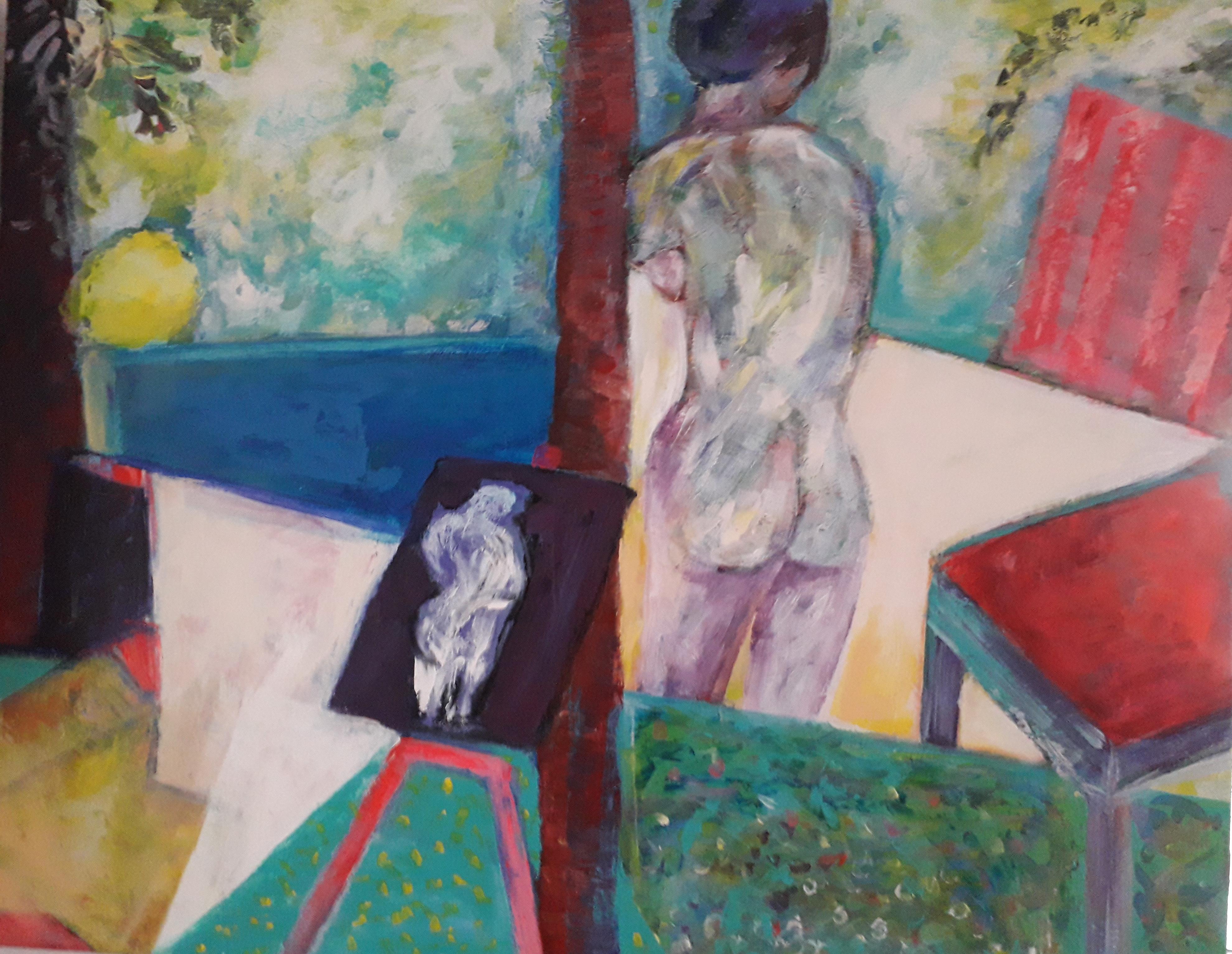 Peintre et modèle Acrylique sur toile
