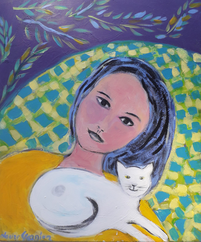 LG Demoiselle avec chat