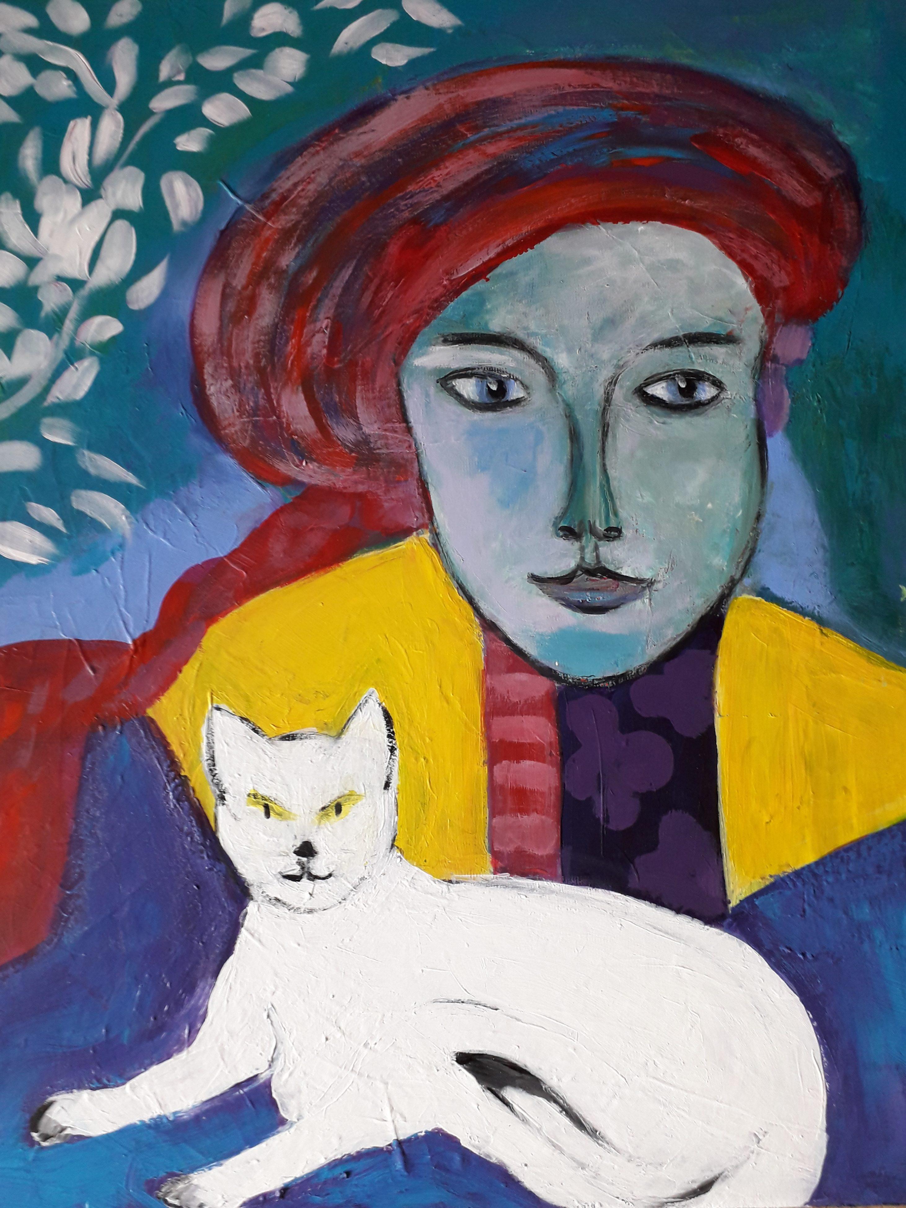 LG Femme au beret et son chat 61 50